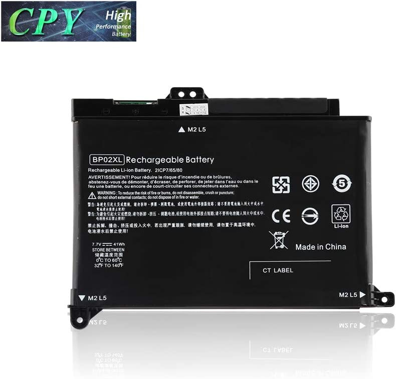 CPY BP02XL Battery for HP Pavilion PC 15 Series 15-AU010WM 15-AU123CL 15-AW053NR HSTNN-UB7B HSTNN-LB7H 2ICP7/65/80 7.7V 41Wh