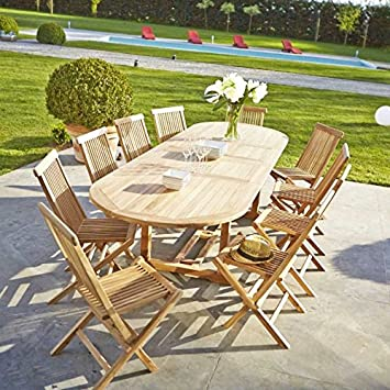 Table de jardin en TECK BRUT QUALITE GRADE A 10/12 pers- table ovale ...