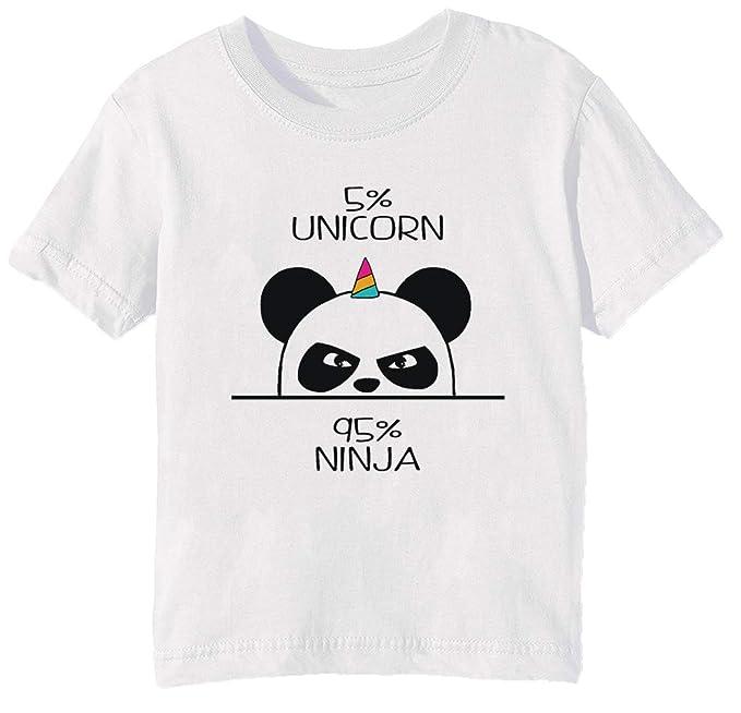 Unicorn Ninja Panda Niños Unisexo Niño Niña Camiseta Cuello Redondo Blanco Manga Corta Todos Los Tamaños Kids Boys Girls White