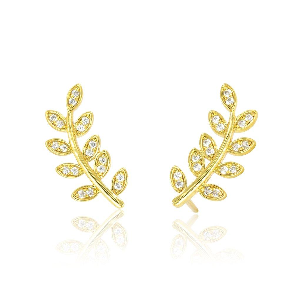 Delicate Leaf Ear Climbers Crawlers Stud Earrings 14K Gold Plated