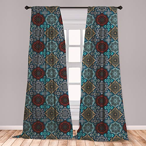 Ambesonne Moroccan Window Curtains, Patchwork Style Vintage Ottoman Inspiration Retro Motifs, Lightweight Decorative Panels Set of 2 with Rod Pocket, 56