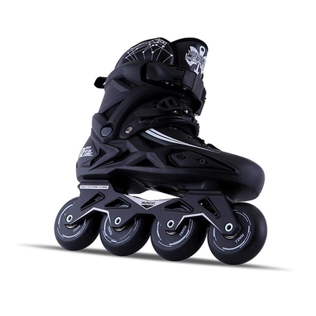 XDSAインラインスケート インラインスケート、男性用と女性用の単列スケート、スケート(黒)カレッジローラースケート (Color : 黒, Size : 42 EU)