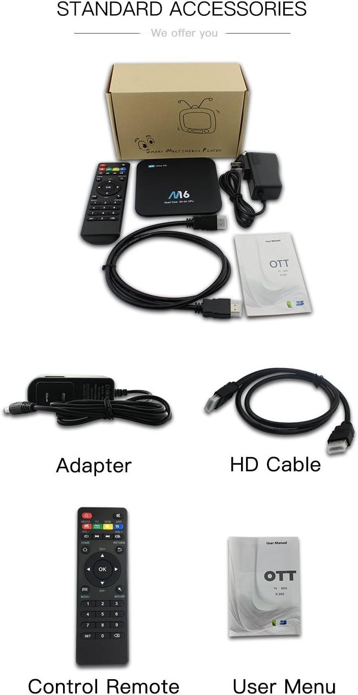rubheen Android Box M16 Android 6.0 media Box Amlogic S905 X Quad Core 64 bits (60Hz) Full HD Smart TV Box doble banda WiFi/BT/1000 m LAN apoyo 4 K/H.265/Wifi 1/8GB Android TV
