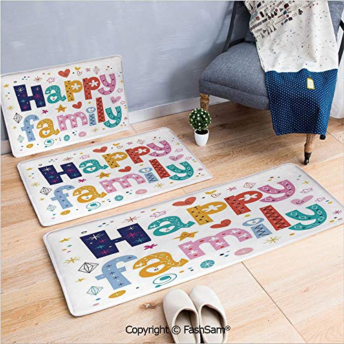 FashSam 3 Piece Flannel Bath Carpet Non Slip Happy Family Letters with Flowers Hearts Stars Dots Circles Cartoon Like Artwork Front Door Mats Rugs for Home(W15.7xL23.6 by W19.6xL31.5 by W35.4xL62.9)