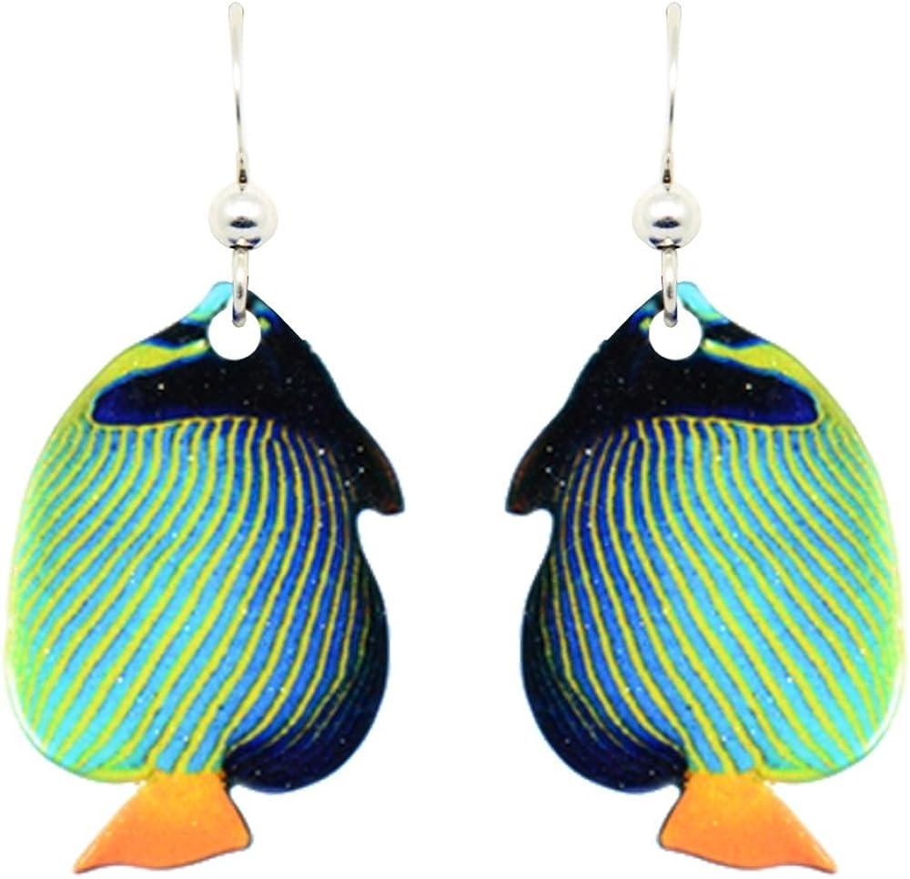 AngelFish and Reef Dormeuse earrings,Ocean Instruments Enamel Earrings