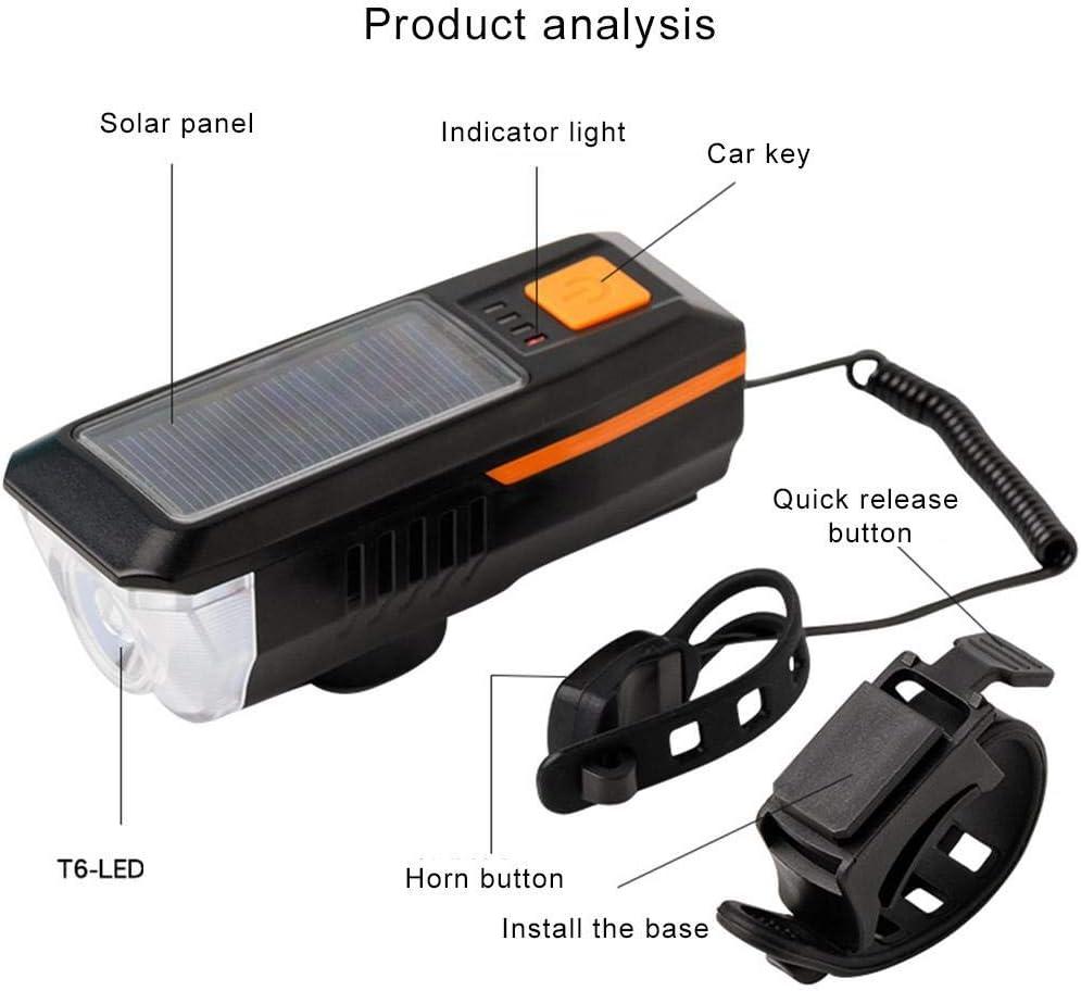 USB Wiederaufladbare Solar-Fahrradleuchten Outdoor-Fahrrad Fahrrad Wasserdichter Frontscheinwerfer Fahrradklingel Fahrradzubeh/ör