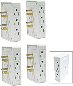 ALAZCO 4pc Side Entry 6-Way Electrical Socket Outlet Splitter In-Wall Tap Adapter Behind Furniture Desk Small Spaces Travel UL LISTED