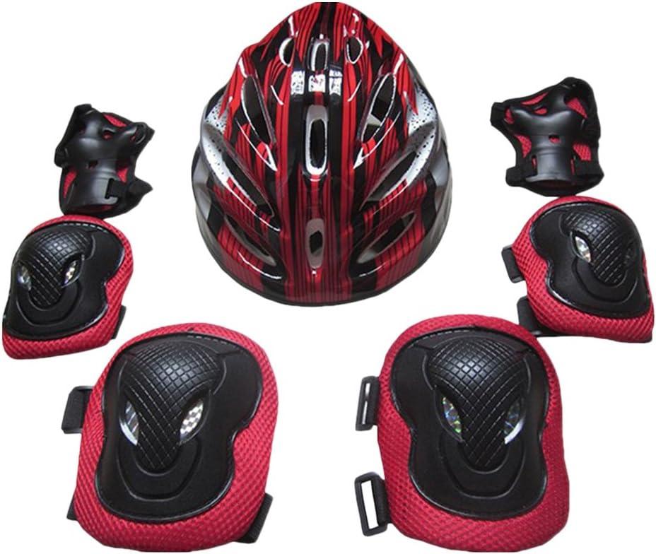 Flameer 大人用 保護キット スケートボード ヘルメット 膝 肘 手のひらパッドセット 快適 安全ガード ギア アイススケート インラインスケート レッド 26x20x13cm