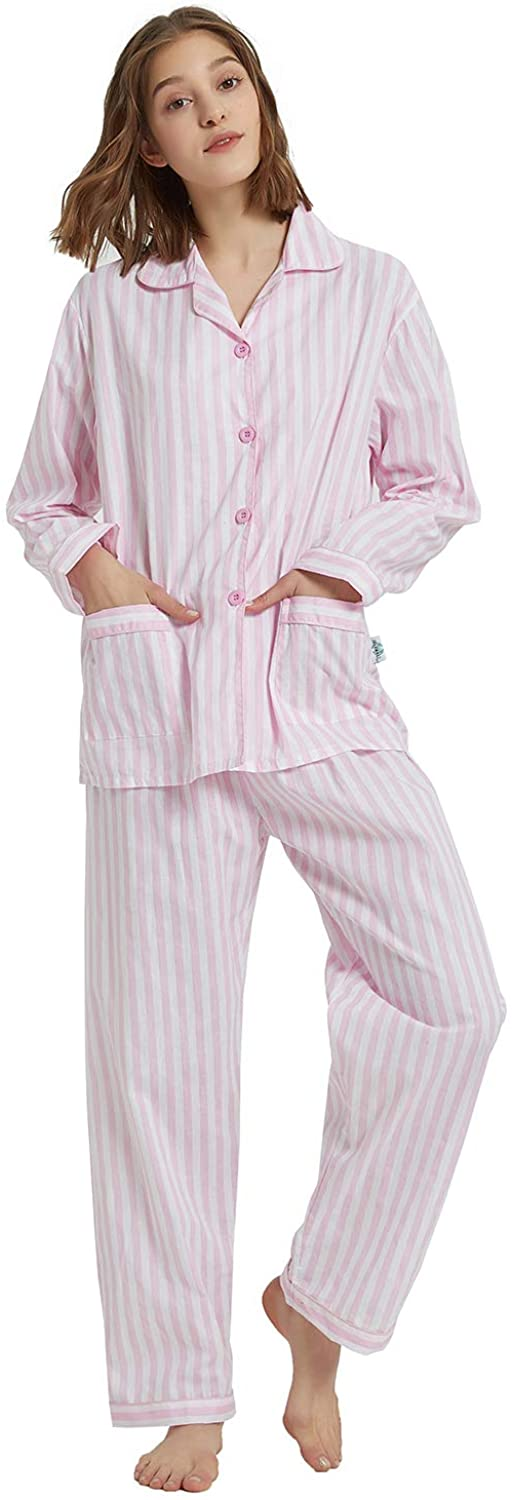 Vintage Nightgowns, Pajamas, Baby Dolls, Robes GLOBAL Womens Pajamas Set 100% Cotton 2-Piece Drawstring Sleepwear $28.99 AT vintagedancer.com
