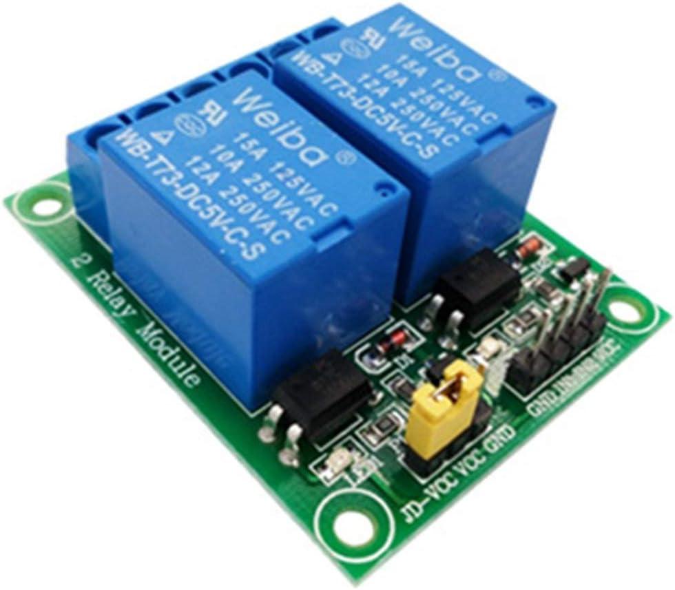 # 1pcs Couleur: Vert Module de relais 2 voies 5V 12V Carte de d/éveloppement dextension MCU avec relais de commande de relais de bas niveau avec optocoupleur