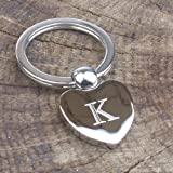 Personalised Silver Heart Shaped Keyring Engraved with initial of your choice, please email us with your engraving instructions