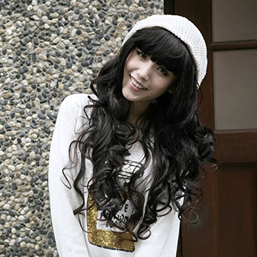 ACE \\Sweet Girl Vogue Stylish Fluffy Natural Black Curly Wavy Long Hair Full Wig