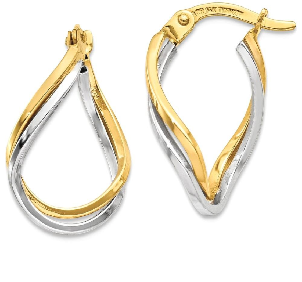 ICE CARATS 14k Two Tone Yellow Gold Twisted Hoop Earrings Ear Hoops Set Fine Jewelry Gift Set For Women Heart