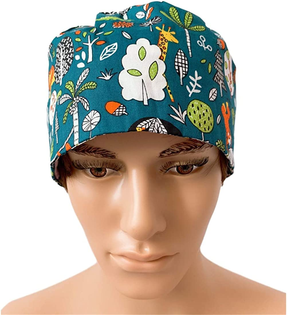 Omoone Womens Mens Casual Floral Adjustable Surgical Scrub Cap Unisex Medical Doctor Bouffant Hats