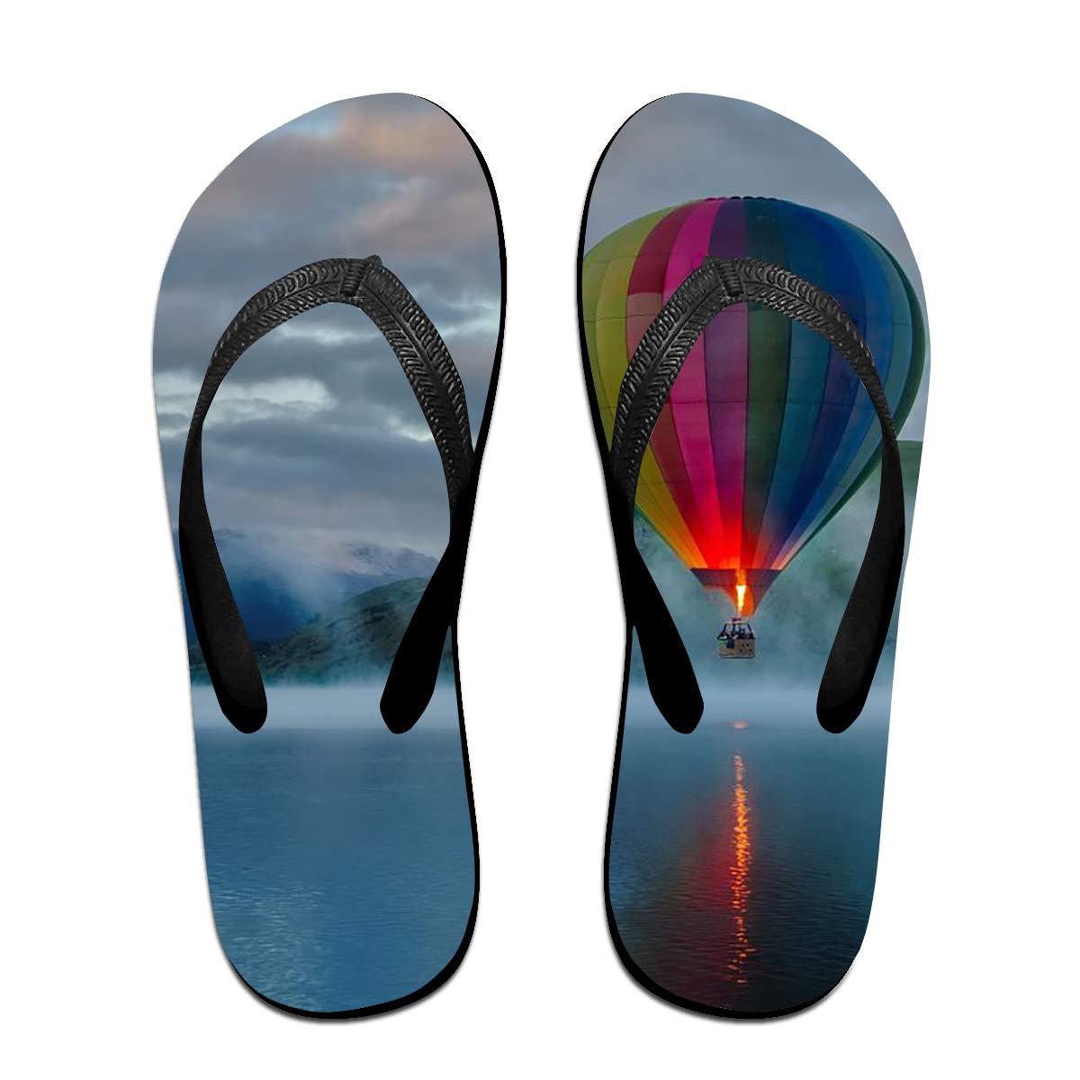 Couple Slipper Hot Air Balloon Print Flip Flops Unisex Chic Sandals Rubber Non-Slip Spa Thong Slippers