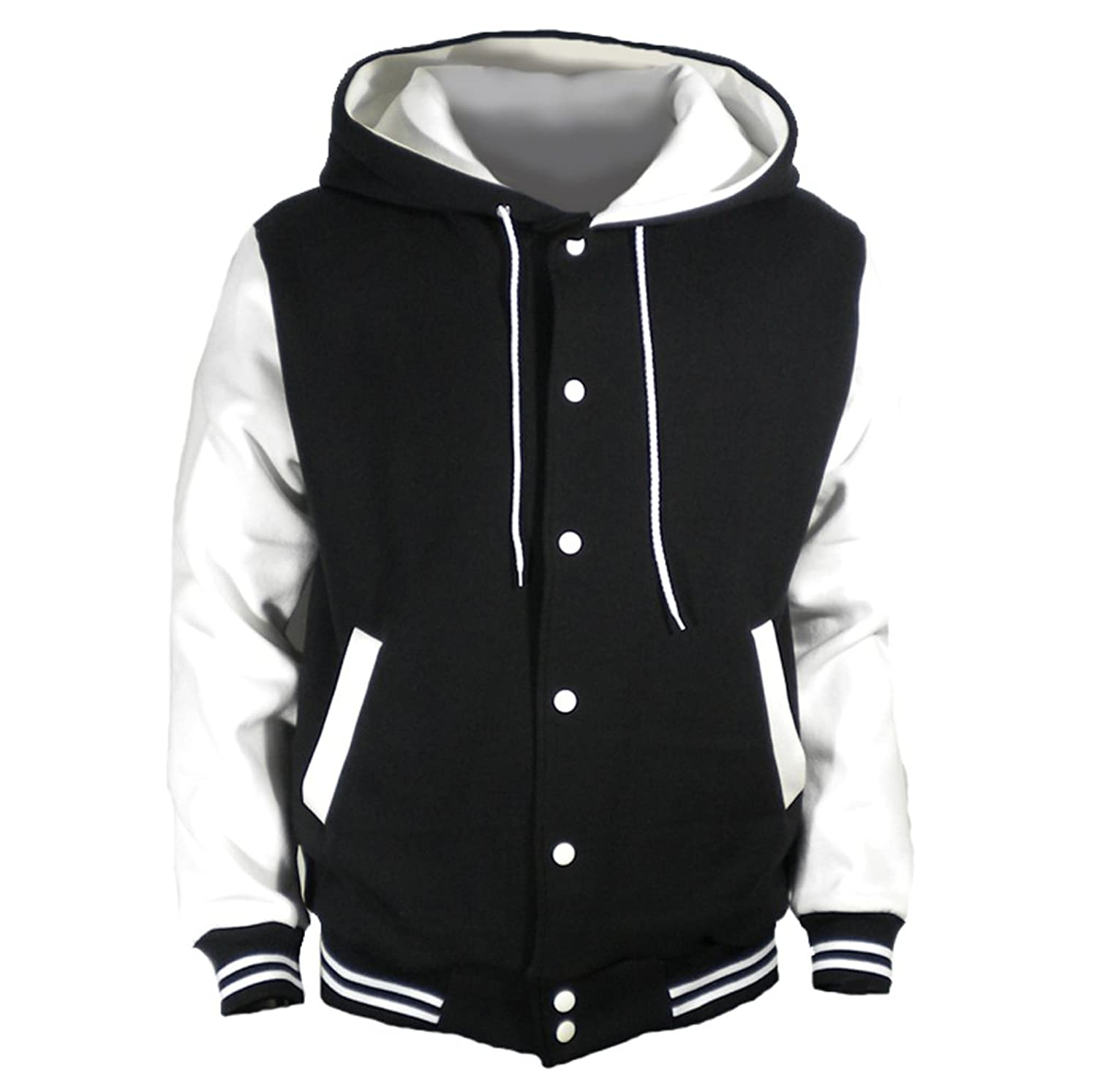 U World Men's Hood Baseball Varsity Jacket White at Amazon Men's ...