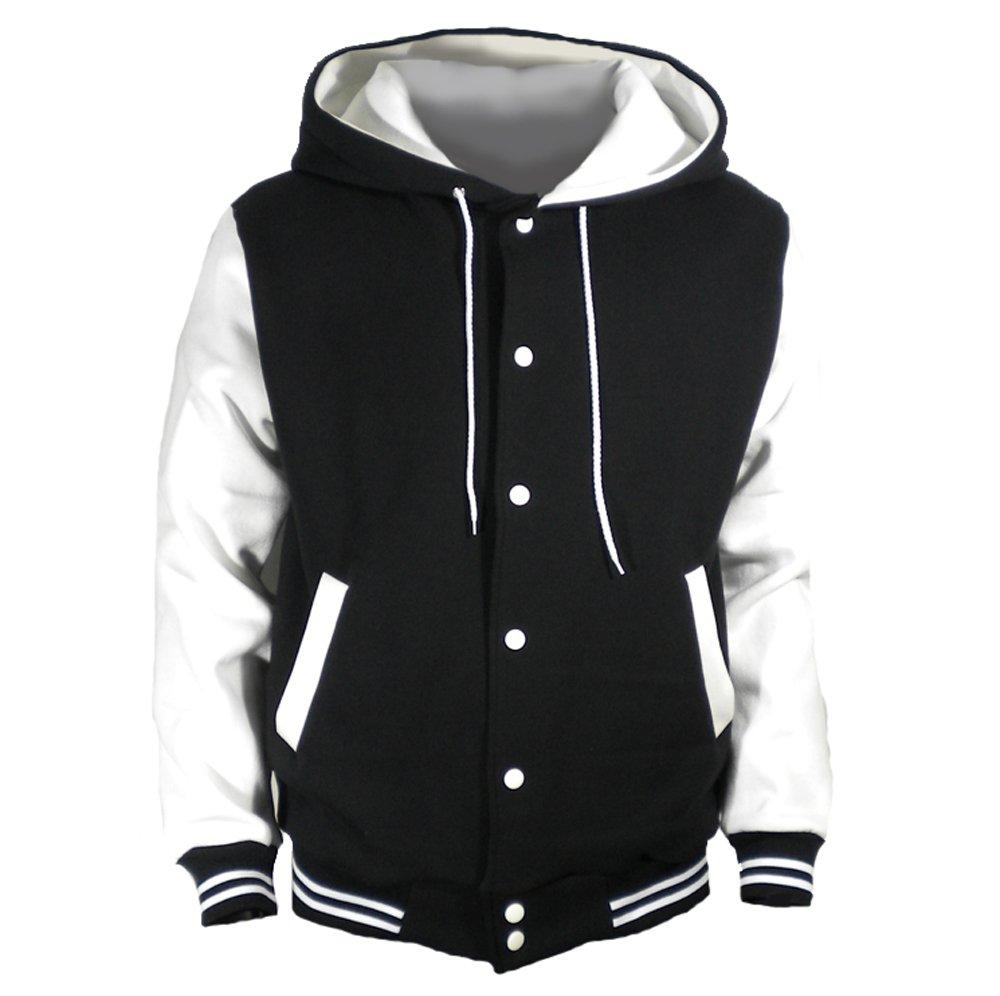 U World Men's Hood Baseball Varsity Jacket White (L) by U World