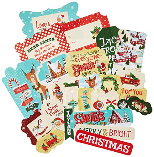 Carta Bella Paper Company CBSW90025 Santa's Workshop Frames & Tags Ephemera, Red/Green/Black/Blue/