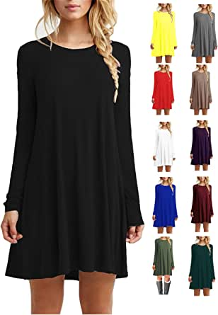 TINYHI Women's Casual Plain Fit Flowy Simple Swing T-Shirt Loose Tunic Dress
