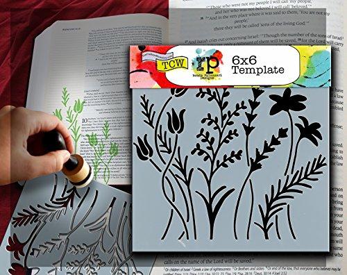 Stencil Flower (CRAFTERS WORKSHOP TCW6X6-433 Bible Journaling Stencil - Wildflowers (6