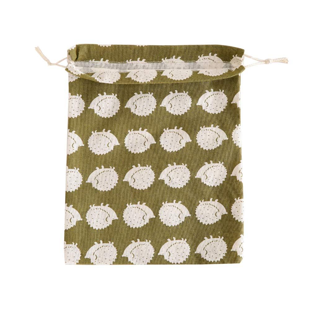 Godagoda Cotton and Linen Drawstring Bag Students Small Underwear Storage Bag