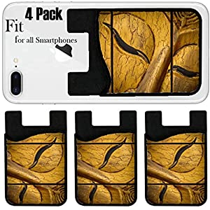 Liili Phone Card Holder Sleeve/Wallet for IPhone Samsung Android and all Smartphones with Removable Microfiber Screen Cleaner Silicone card Caddy(4 Pack) face buddha Photo 15186481 Simple Snap Carryi
