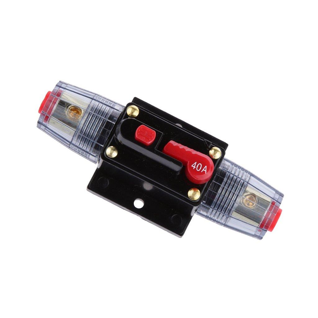 Jili Online 12V 24V Inline Auto Circuit Breaker 40A Manual Reset Switch Car Marine Stereo Audio Fuse
