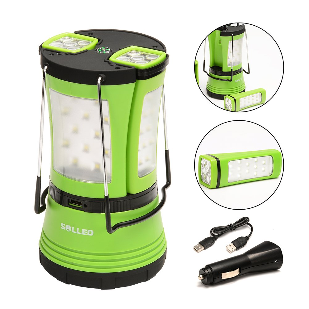 SOLLED 600lm Rechargeable LED Camping Lantern, Portable Water Resistant Tent Light with 2 Detachable Flashlights Torches USB Cable Car Charger Compass for Outdoor Camping Hiking Emergency