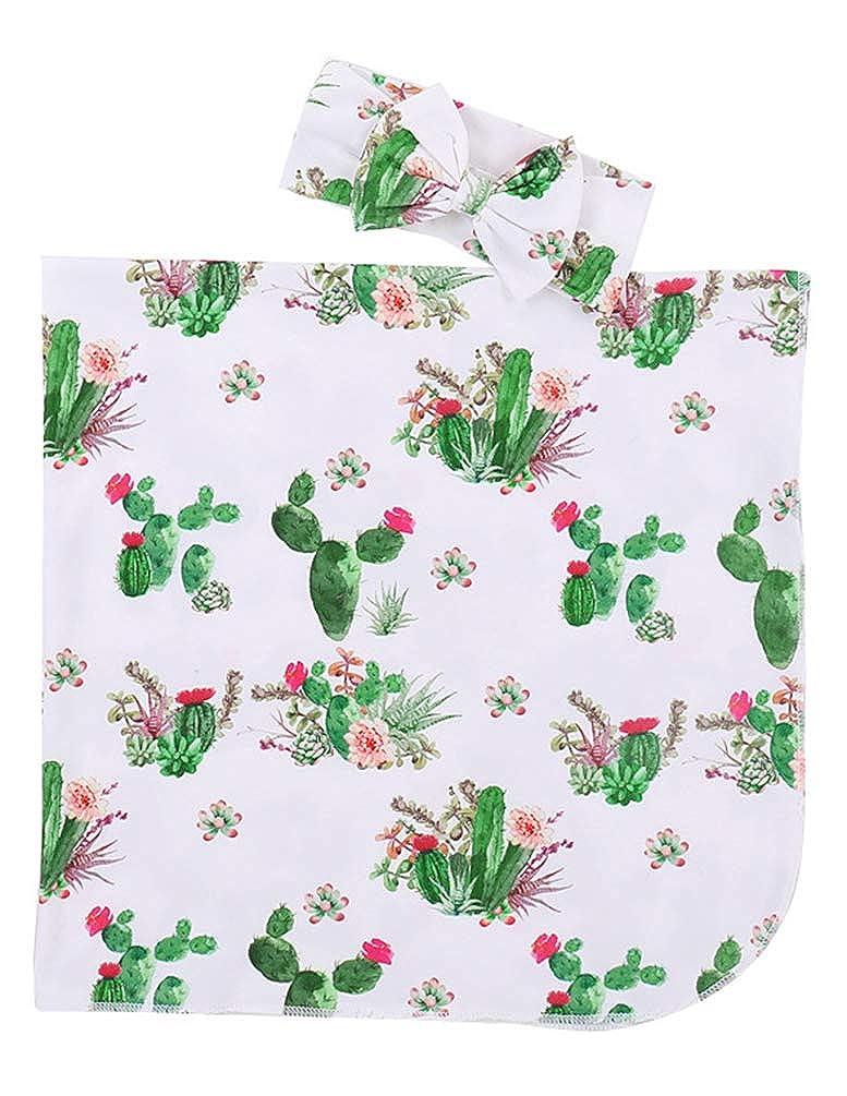 COLOOM Newborn Receiving Blanket Headband Set Cactus Flower Print Baby Swaddle Receiving Blankets