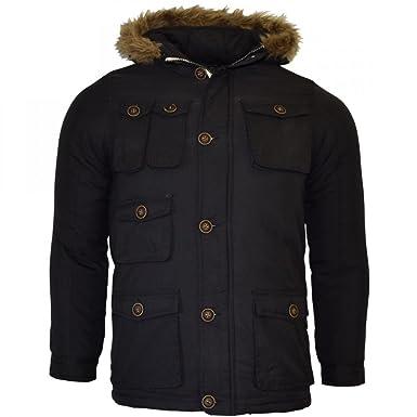 eb1484fa8 Brave Soul Childrens Boys Padded Winter Coat School Fur Parka Jacket ...