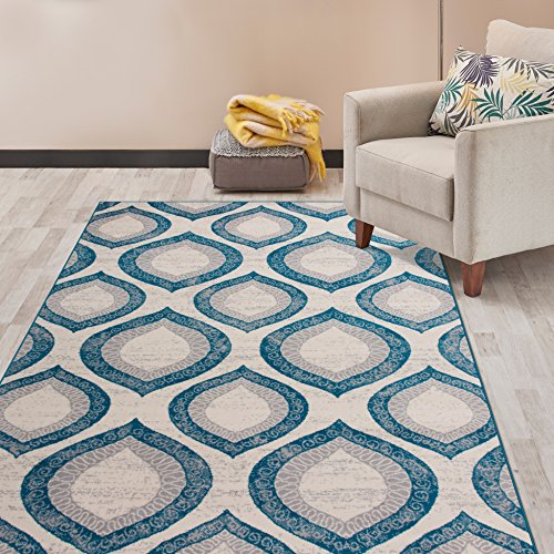Contemporary Modern Morroccan Pattern Area Rugs Blue 5' X 7'