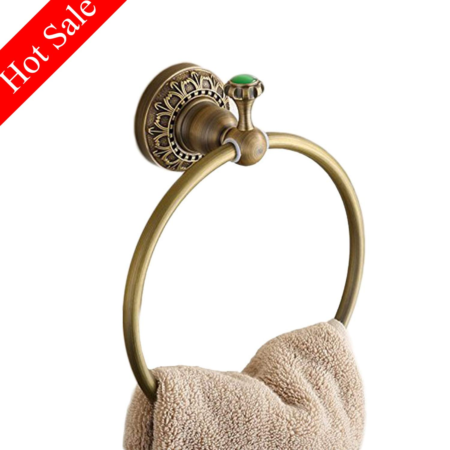 Beelee Wall Mounted Towel Ring/Towel Holder,Solid Brass Construction, Antique Bronze finish,Bathroom Accessories