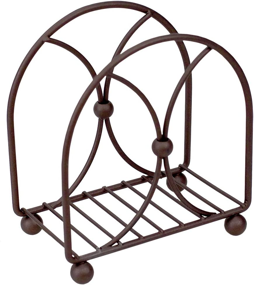 Home Basics Arbor Collection Rustic Heavy Duty Steel Napkin Holder Organizer Stand, Elevated Base, Oil Rubbed, Bronze