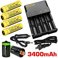 Nitecore Intellicharge i4 Four Bays universal home/in-car battery charger, Four Nitecore 18650 NL189 Li-ion 3400mAh rechargeable batteries with 2 X EdisonBright AA to D type battery spacer/converters