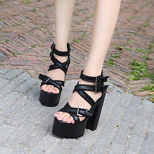 Cruz Decoraci Tacones Boca Sexy de Sandalias Moda Altos de Odian con Roma de Altos Altos Pescado 8Cm Tacones con Cuero Alta Zapatos Sandalias Discoteca Gruesa Arriba Calidad rrXwFf