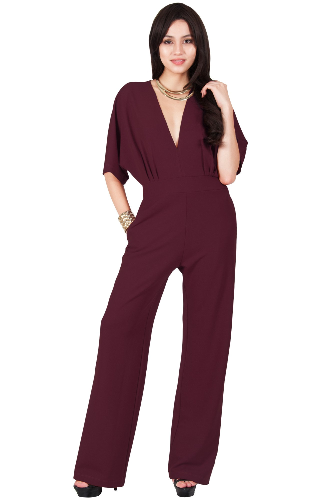 Viris Zamara Plus Size Womens Long Sexy V-Neck Short Sleeve Slimming Pockets Wide Leg Work Office Party Semi Formal Spring Jumpsuit Jumpsuits Pantsuit Playsuit Romper, Maroon Wine Red 2XL 18-20