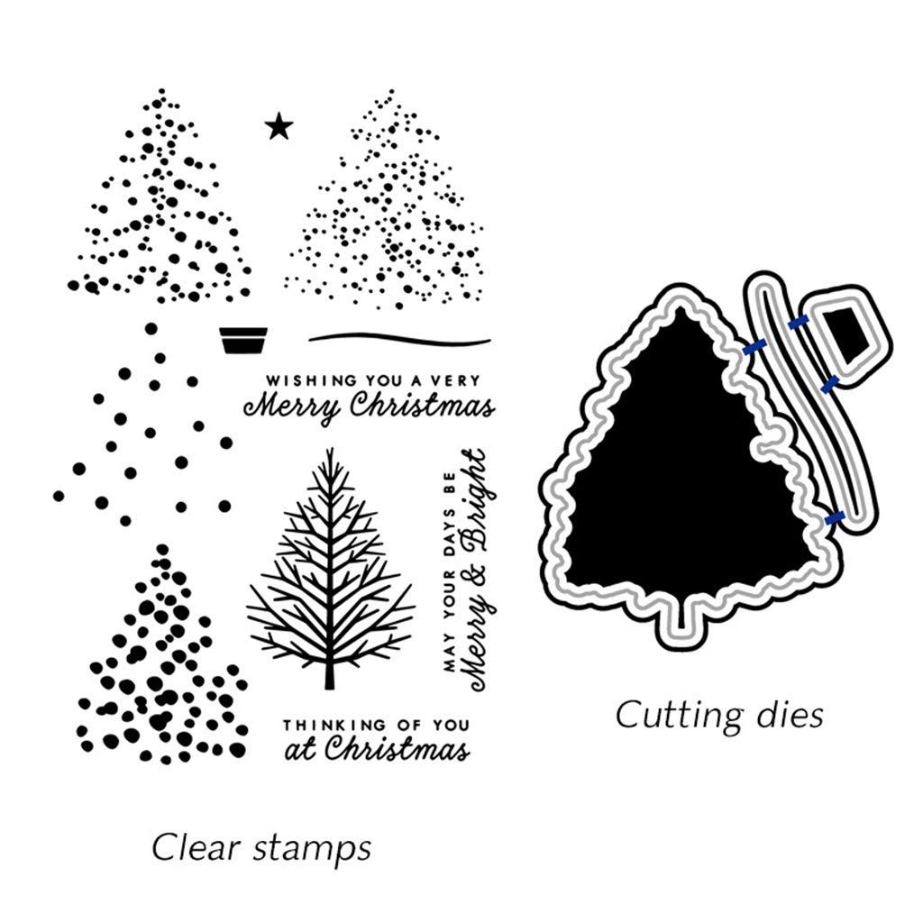 Ranuw Timbre Clair Christmas Tree DIY Cutting Dies Stencil DIY Scrapbooking Embossing Paper Card Decor