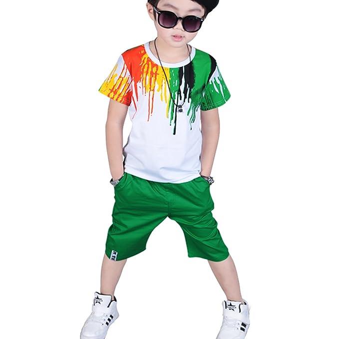Amazon.com: onlyangel niños coloridos trajes de manga corta ...