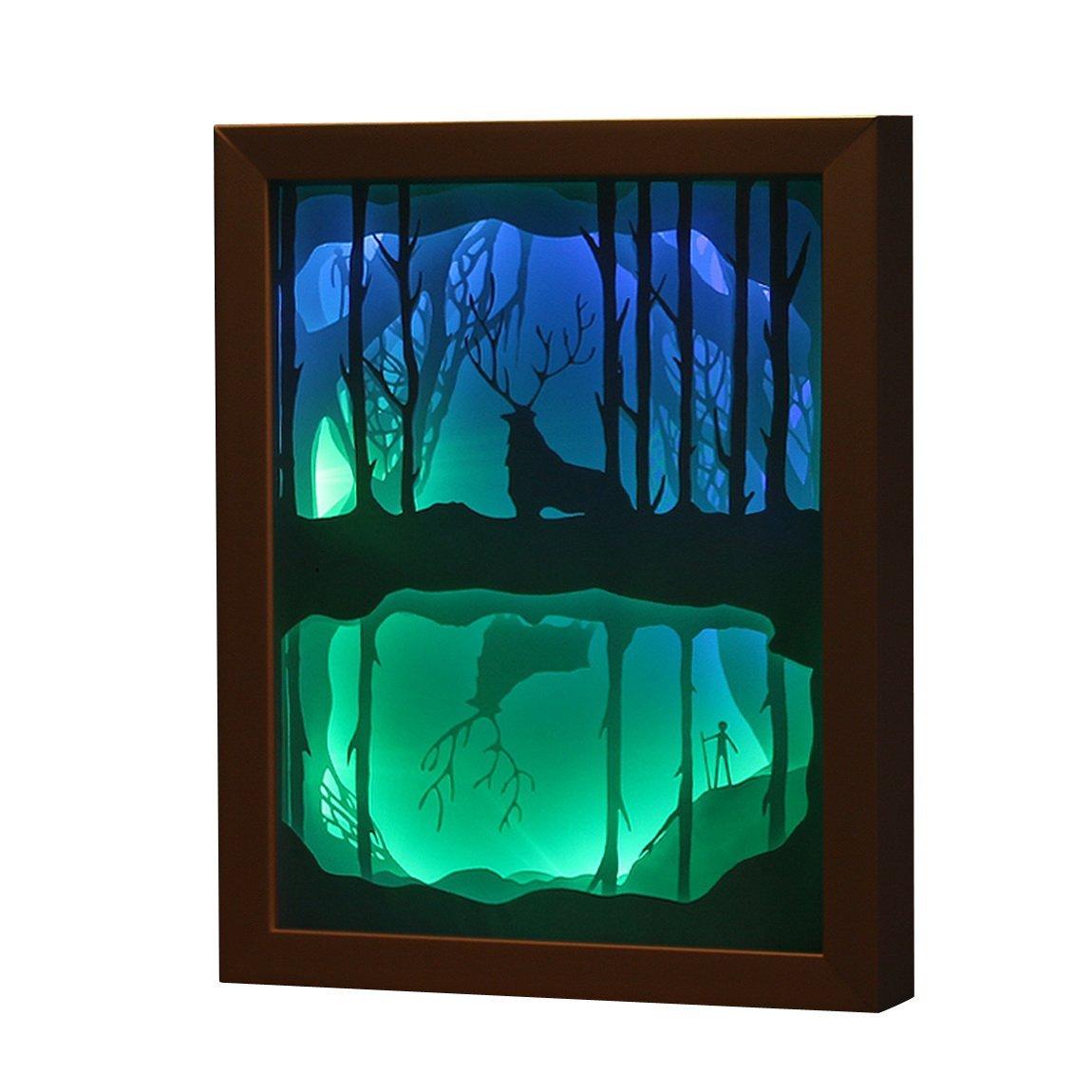 Teecho 3D Papercut Light Boxes Night Light Lamp of Creative Papercut Lights Lamp Elk