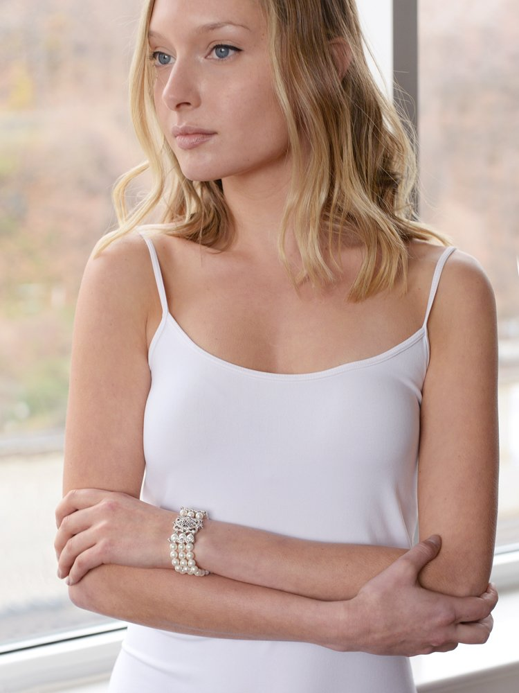 Mariell Genuine Freshwater Pearl 3-Strand Bridal Bracelet - Luxe 3-Row Pearl Bracelet with CZ Clasp by Mariell (Image #2)