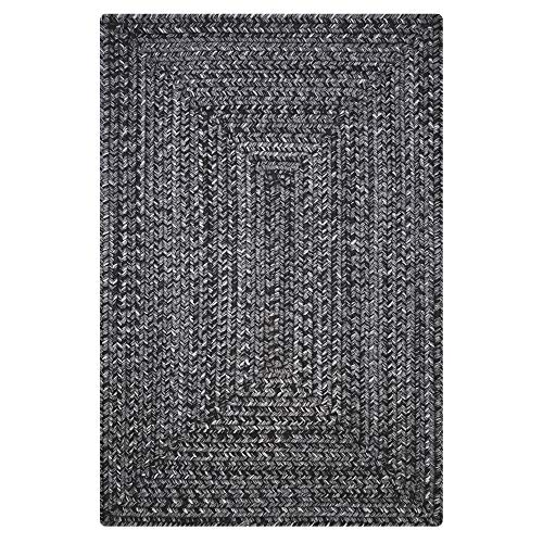 (Rectangle Braided Rug 3' x 5' Homespice Black Black, Grey Indoor - Outdoor, Durable Eco Friendly Natural Fiber, Easy to Clean, Reversible, Handmade)