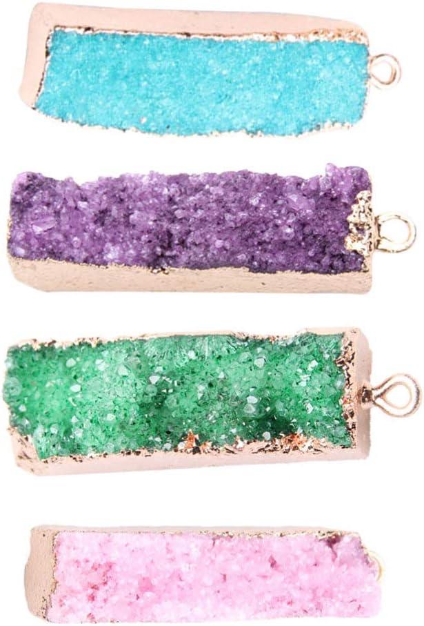HEALLILY 4 Piezas de Colgantes de Cuarzo de Cristal Natural con Dijes de Cuentas de Piedras Preciosas Rectangulares Encantos para Diy Artesanía Joyería Collar Pendientes (Color Mezclado)