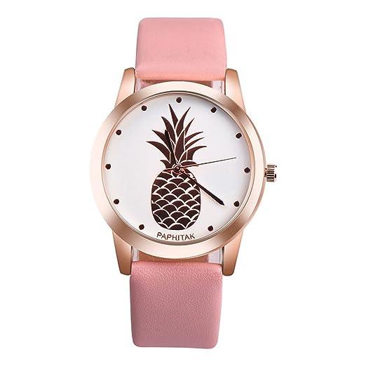 Espeedy Moda Nueva Mujer PU Correa Cuarzo Piña Patrón Reloj Dial Reloj Mujeres Reloj Casual