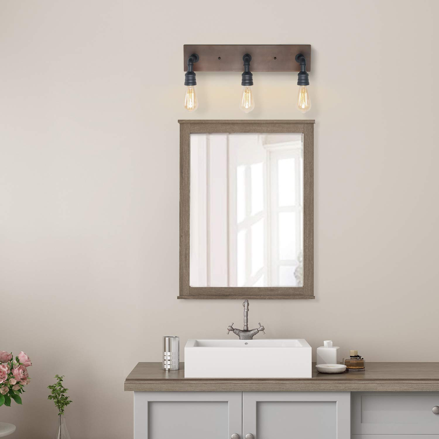 LNC Bathroom Vanity Lights, Farmhouse Wood and Water Pipe Wall Sconces(3 Heads )A03376, by LNC (Image #4)