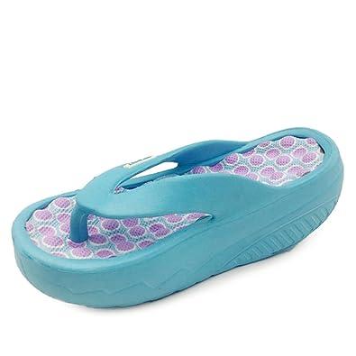 3595b7945f06 Geilly Women s Beach Wedges Platform Massage Thong Slippers Flip Flops  Sandals (6 B(M