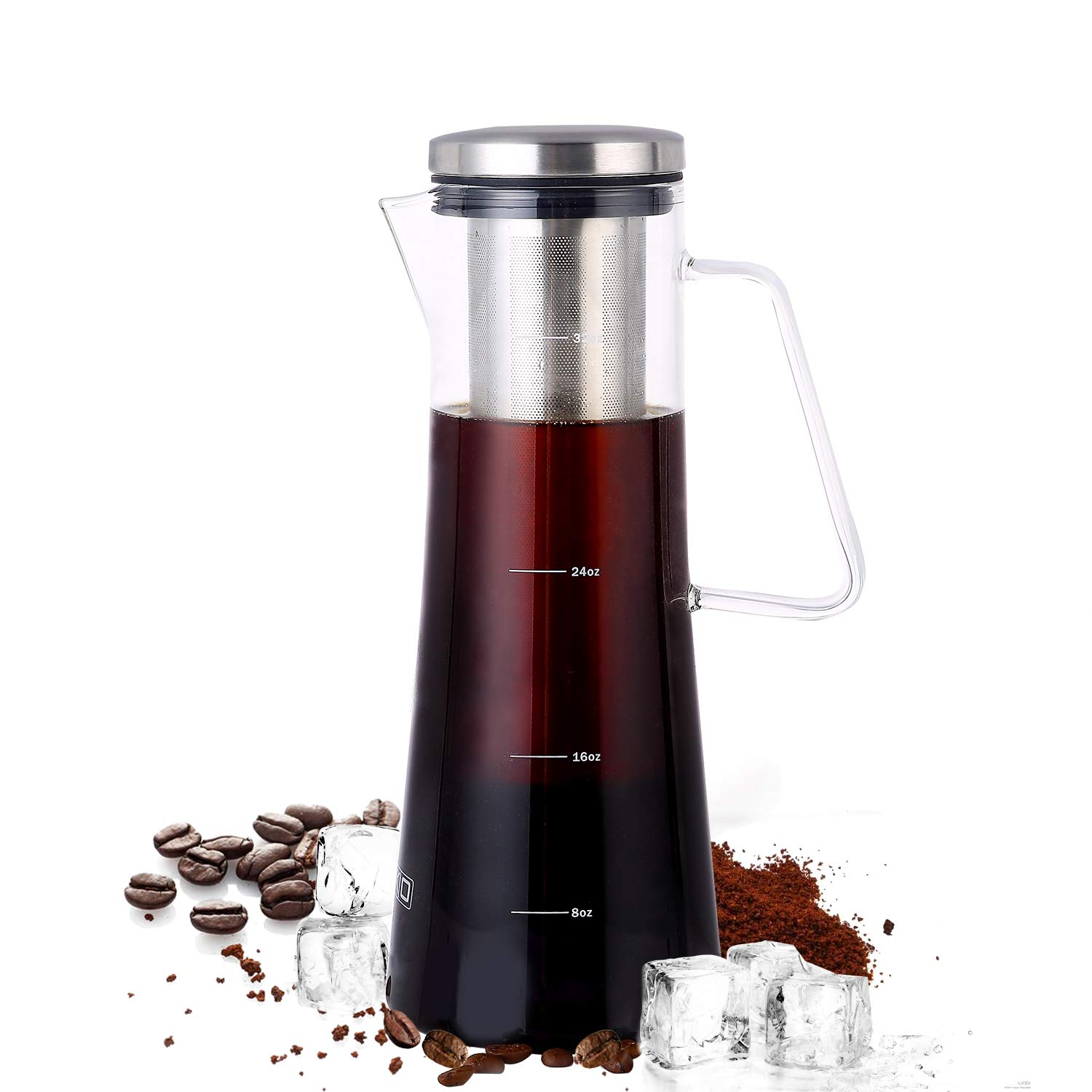 Cold Brew Coffee Maker Iced Tea Brewer 1 Quart - 32 oz Thick Borosilicate Glass Carafe with Double Mesh Removable Filter 4 Cups Coffee Maker