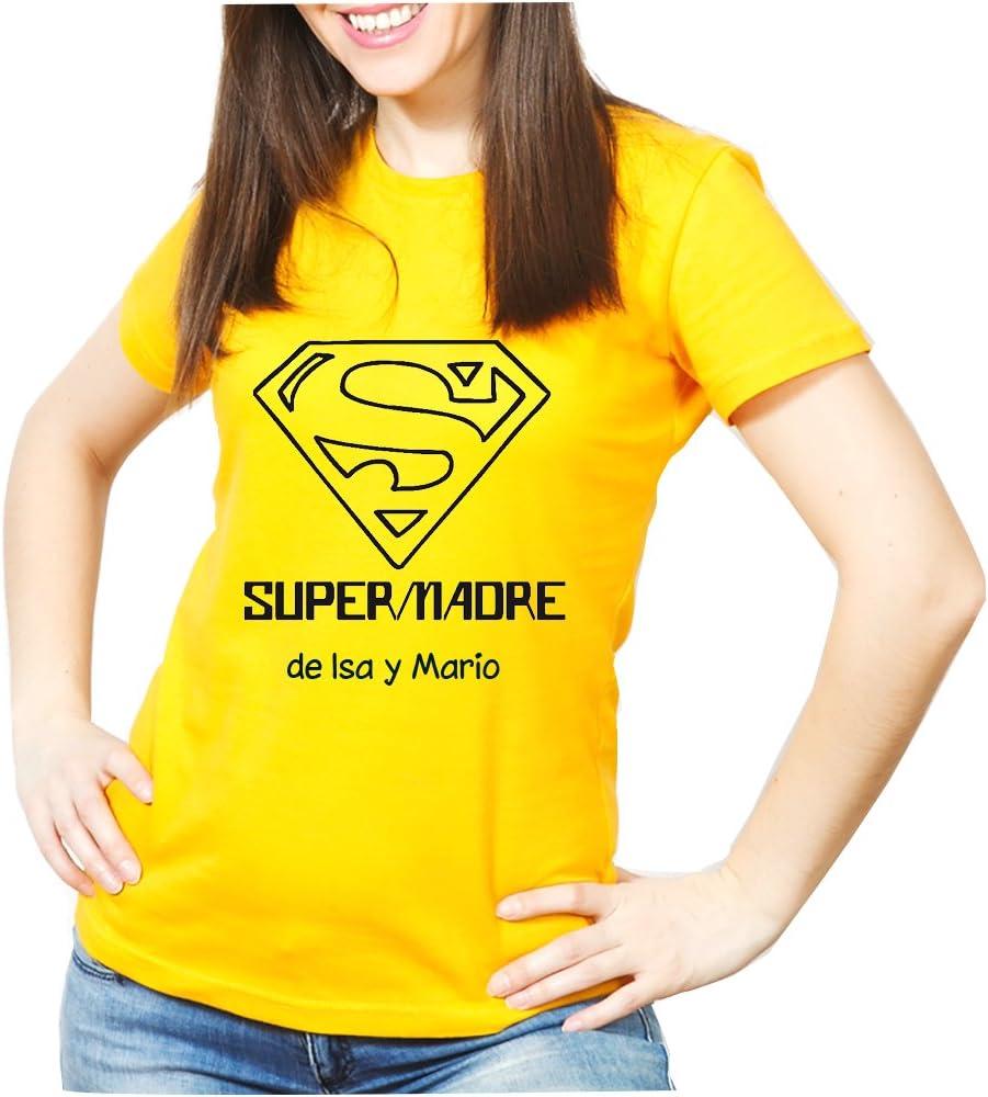 Calledelregalo Regalo para Madres Personalizable: Camiseta SuperMadre Personalizada con el Nombre o Nombres Que tú Quieras (Amarilla): Amazon.es: Ropa y accesorios
