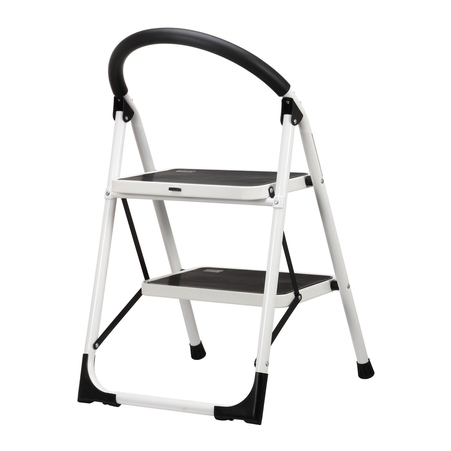 Ollieroo Step Stool EN131 Steel Folding 2 Step Ladder with Comfy Grip Handle Anti-slip Step Mon-marring Feet 330-pound Capacity White by Ollieroo (Image #1)