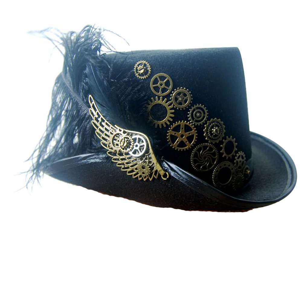 Steampunk Victorian Hat for Women Black with Metal Wing Cosplay Gothic Noble Top Hat (Without rose)