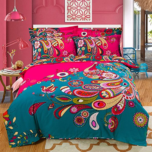 COMFORTEX 100% Cotton Soft and Comfortable Boho Bedding Set 4 Piece Queen Size Bohemian Exotic Style Colorful Peacock Feather Pattern Duvet Covers With Flat Sheet and Pillowcases